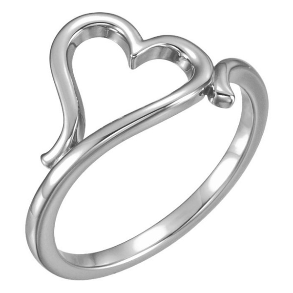 14K White Gold Freeform Heart Ring