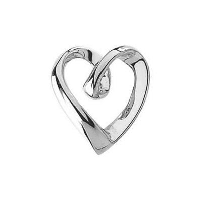 14K White Gold Heart Slide Pendant