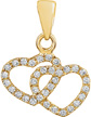 14K Yellow Gold Double Heart Diamond Pendant