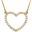 14K Yellow Gold Open Heart Diamond Necklace in 16