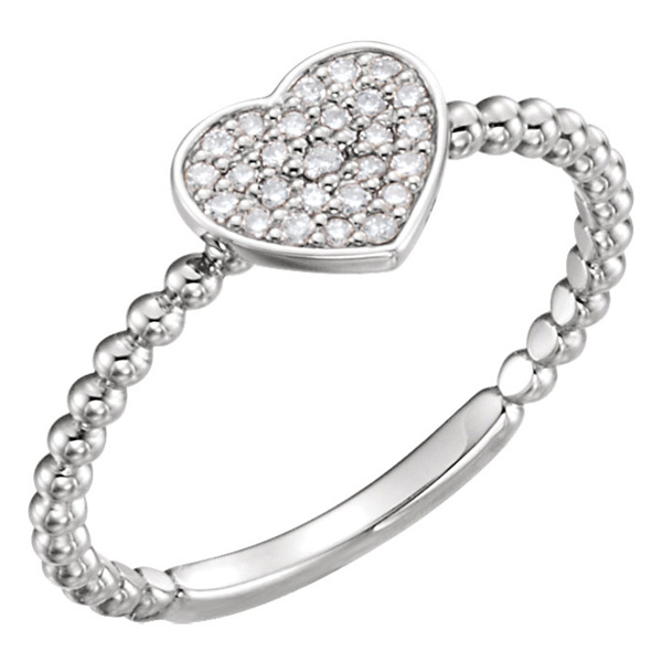 Beaded Diamond Heart Ring, 14K White Gold