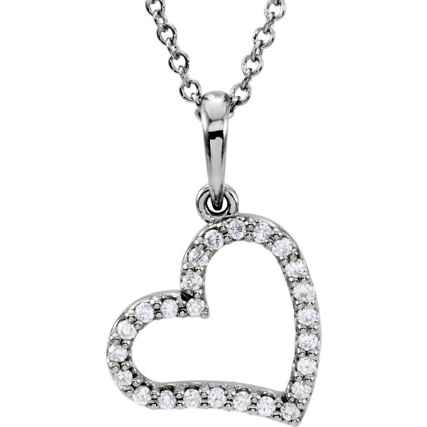 14K White Gold Dangling Heart Necklace