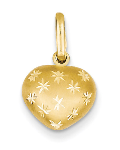 Diamond-Cut Heart Pendant, 14K Gold