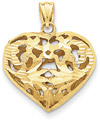 Diamond-Cut Design Heart Pendant, 14K Yellow Gold