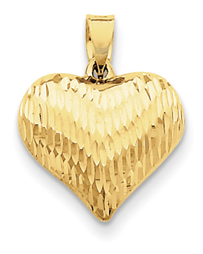 Diamond-Cut Puffed Heart Pendant, 14K Yellow Gold