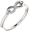 Diamond Infinity Symbol Ring, 14K White Gold