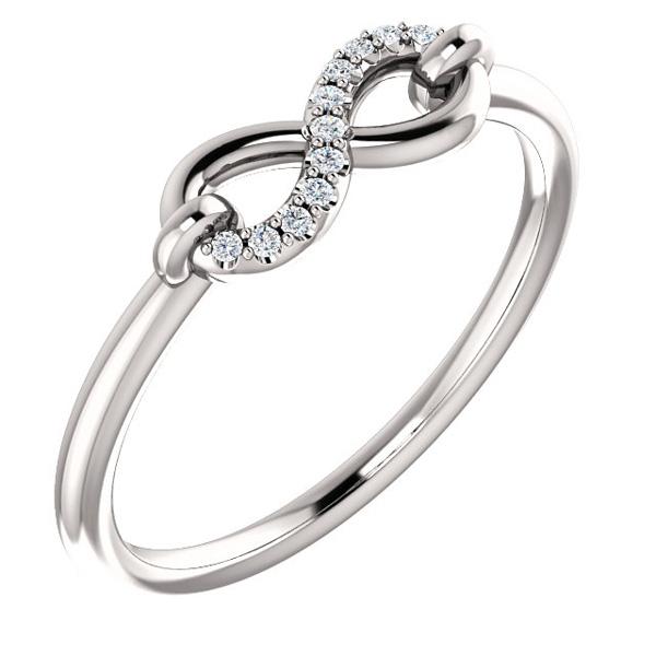 Diamond Infinity Symbol Ring, 14K White Gold