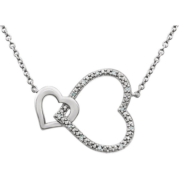Interlocking Diamond Heart Necklace, Sterling Silver