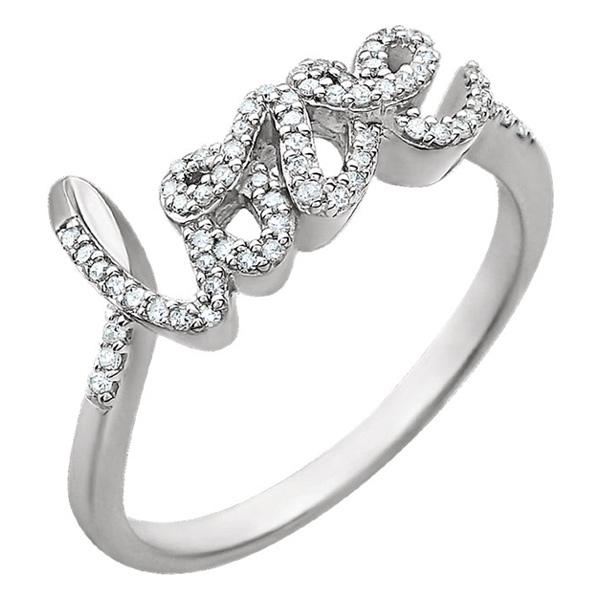 Diamond Love Ring in 14K White Gold