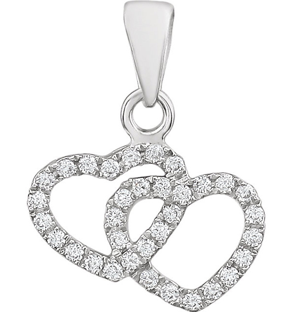 Double Heart Diamond Pendant in 14K White Gold