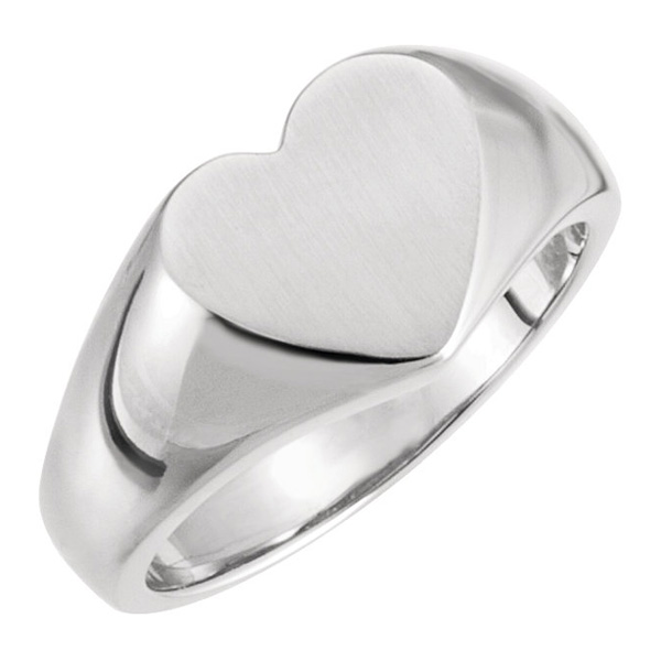 Sterling Silver Signet Heart Ring