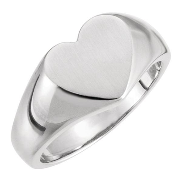 Engravable Signet Heart Ring in 14K White Gold