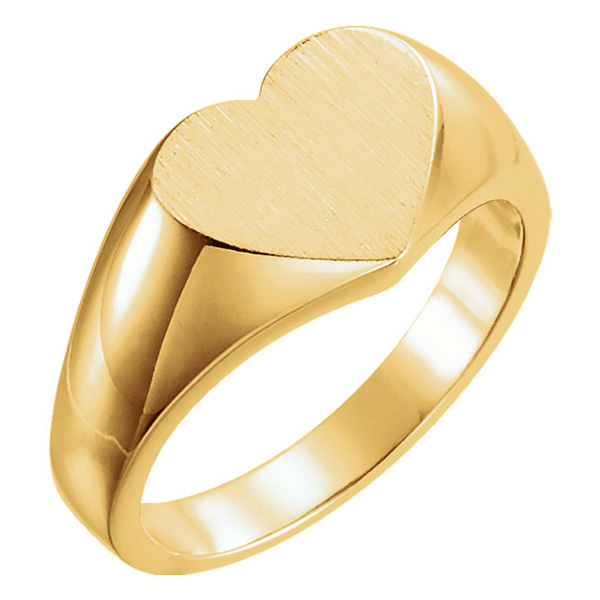 Engraveable Signet Heart Ring, 14K Yellow Gold