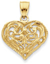 14K Gold Filigree Heart Pendant