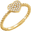 14K Gold Beaded Diamond Heart Ring