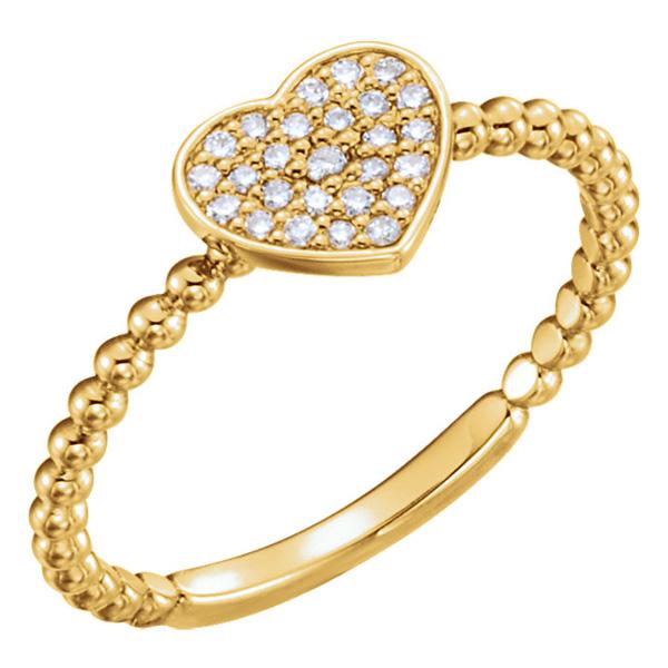 14K Gold Beaded Diamond Heart Ring