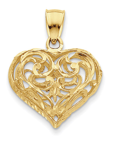 14k gold filigree heart pendant aloadofball Gallery