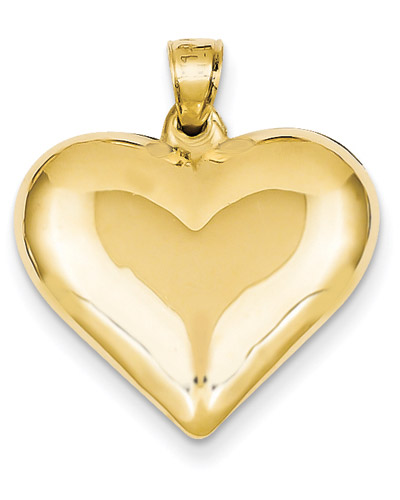 14K Gold Polished Heart Necklace