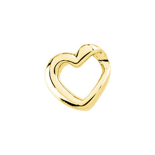 Yellow Gold Open Heart Slide Pendant