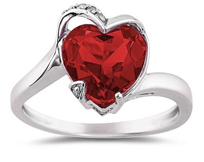 Heart-Shaped Garnet and Diamond Ring, 14K White Gold