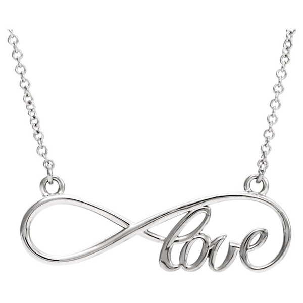 Infinity Love Necklace in 14K White Gold