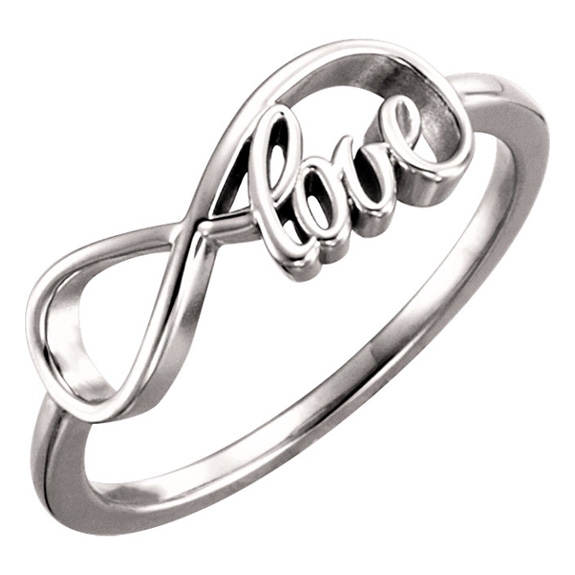 white gold infinity love ring