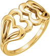 Interlocking Heart Ring in 14K Yellow Gold