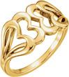 Interlocking Heart Ring in 14K Yellow Gold