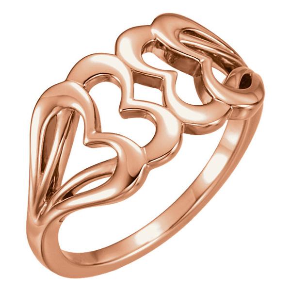 Interlocking 14K Rose Gold Heart Ring