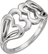 Sterling Silver Interocking Heart Ring