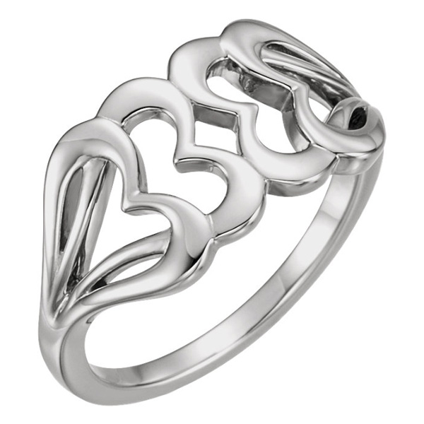 Interlocking White Gold Heart Ring