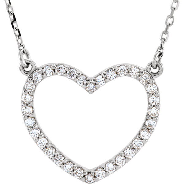 Open Heart Diamond Necklace in 16