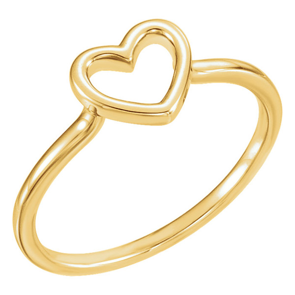 Open Heart Ring in 14K Gold