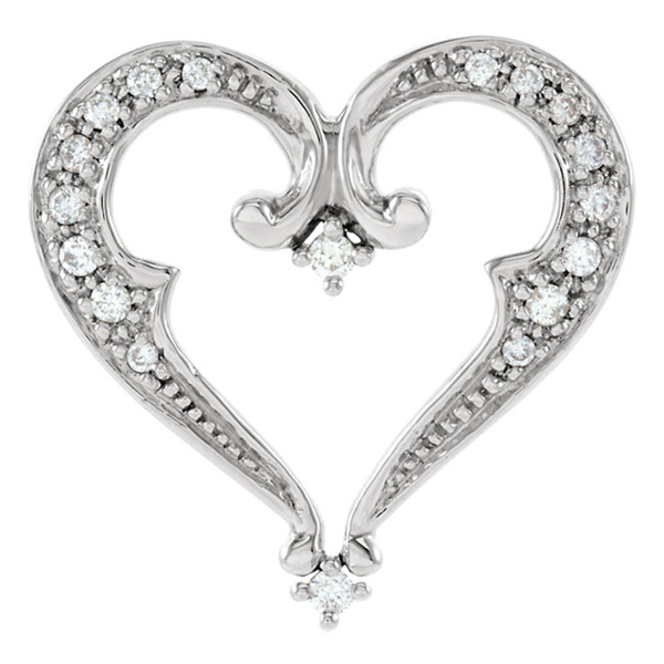 Ornate Diamond Heart Pendant Slide
