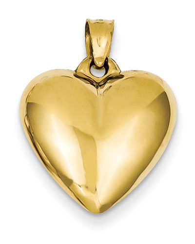 Puffy 14K Gold Heart Pendant