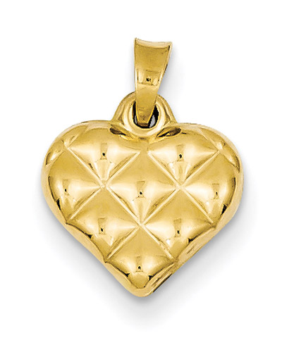 Quilted Heart Pendant, 14K Gold