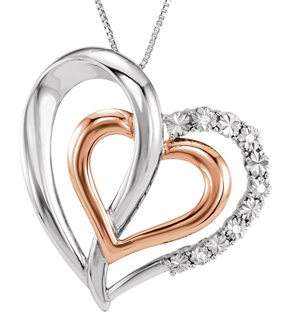 14K Rose Gold Plated Sterling Silver Diamond Heart Necklace