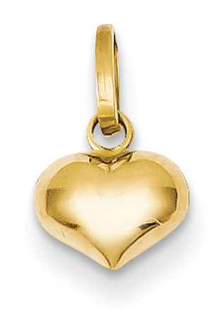 14K Gold Small Puffed Heart Charm