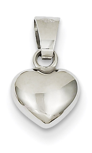 Small 14K White Gold Heart Charm