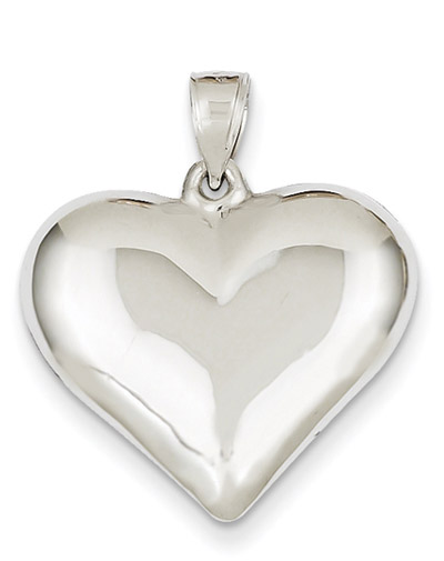 14K White Gold Polished Heart Necklace
