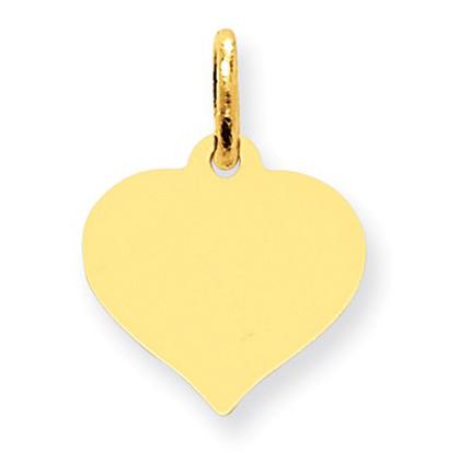 Engraveable Heart Charm Pendant in 14K Gold