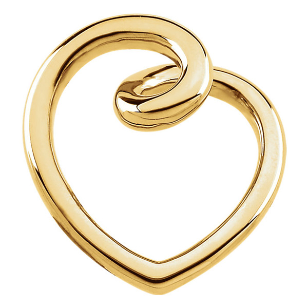 Yellow Gold Fashion Heart Slide Pendant