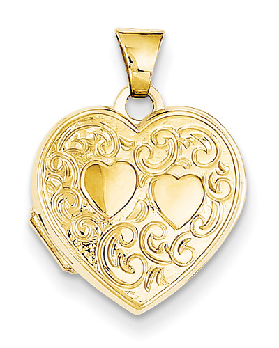 2 Hearts 14K Gold Heart Locket