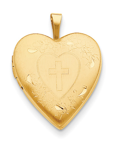Heart Locket with Cross, 14K Gold
