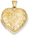 Paisley Heart Locket, 14K Gold