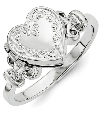 Heart Locket Ring, Sterling Silver