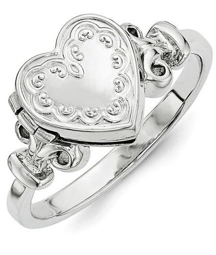 Heart Locket Ring, Sterling Silver