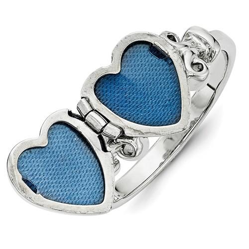 heart locket ring silver open