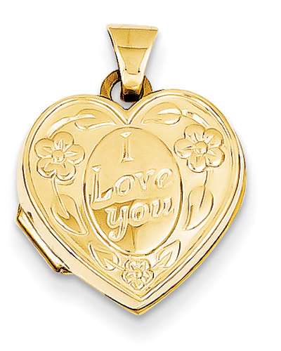I Love You Floral Heart Locket, 14K Gold
