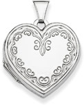 Ornate Engraved Heart Locket Pendant Necklace, Sterling Silver